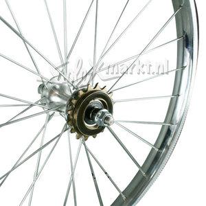 Solex achterwiel (Franse Naaf) 19'' - Compleet gespaakt - (Vlakke velg)